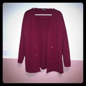 Boohoo plus burgundy gold buttons cardigan blazer
